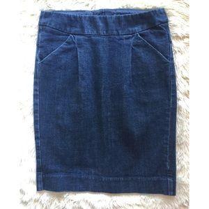 J. CREW Pencil Skirt Stretch Denim Jean Pleat 2